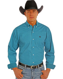 Panhandle Slim Men's Turquoise Peached Print Western Shirt , , hi-res