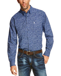 Ariat Men's Blue Rocklin Print Long Sleeve Shirt - Big and Tall , , hi-res