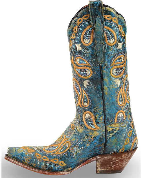 Dan Post Women's Turquoise Paisley Embroidered Western Boots - Snip Toe, Turquoise, hi-res