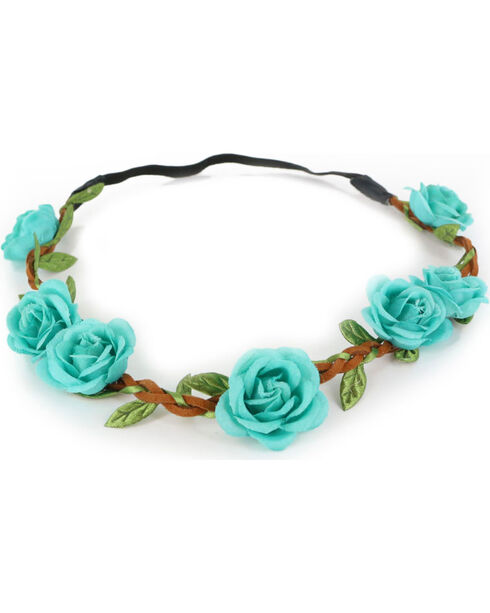 Shyanne® Women's  Braided Flower Crown Headband, Turquoise, hi-res