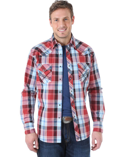 Wrangler 20X Men's Plaid Western Long Sleeve Shirt, Wine, hi-res