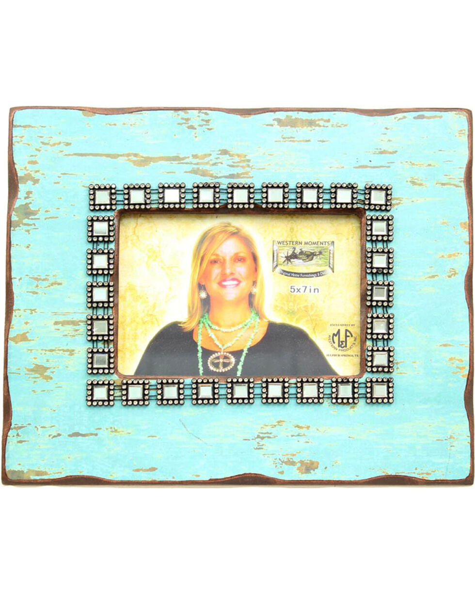 Western Moments Distressed Photo Frame, Turquoise, hi-res