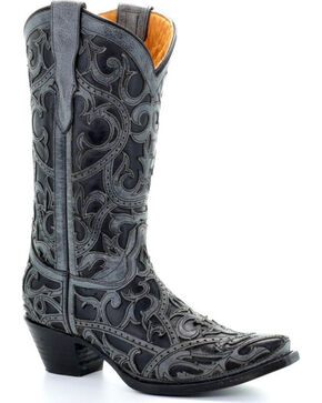 Corral Youth Girls' Black Full Overlay Cowgirl Boots - Snip Toe , Black, hi-res