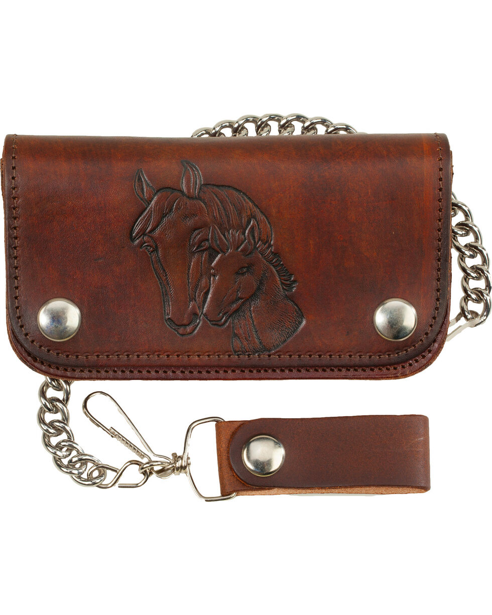 "Western Express Men's 6"" Leather Biker Horse Wallet , Brown, hi-res"