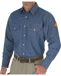 Wrangler Flame Resistant Western Work Shirt - Big , , hi-res