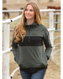 Cinch Women's Grey 1/2 Zip Pullover , Olive, hi-res