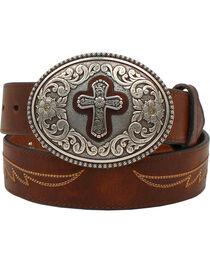 Ariat Women's Western Cross Leather Belt, , hi-res