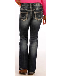 Rock & Roll Cowgirl Girls' Khaki Border Jeans - Boot Cut , , hi-res