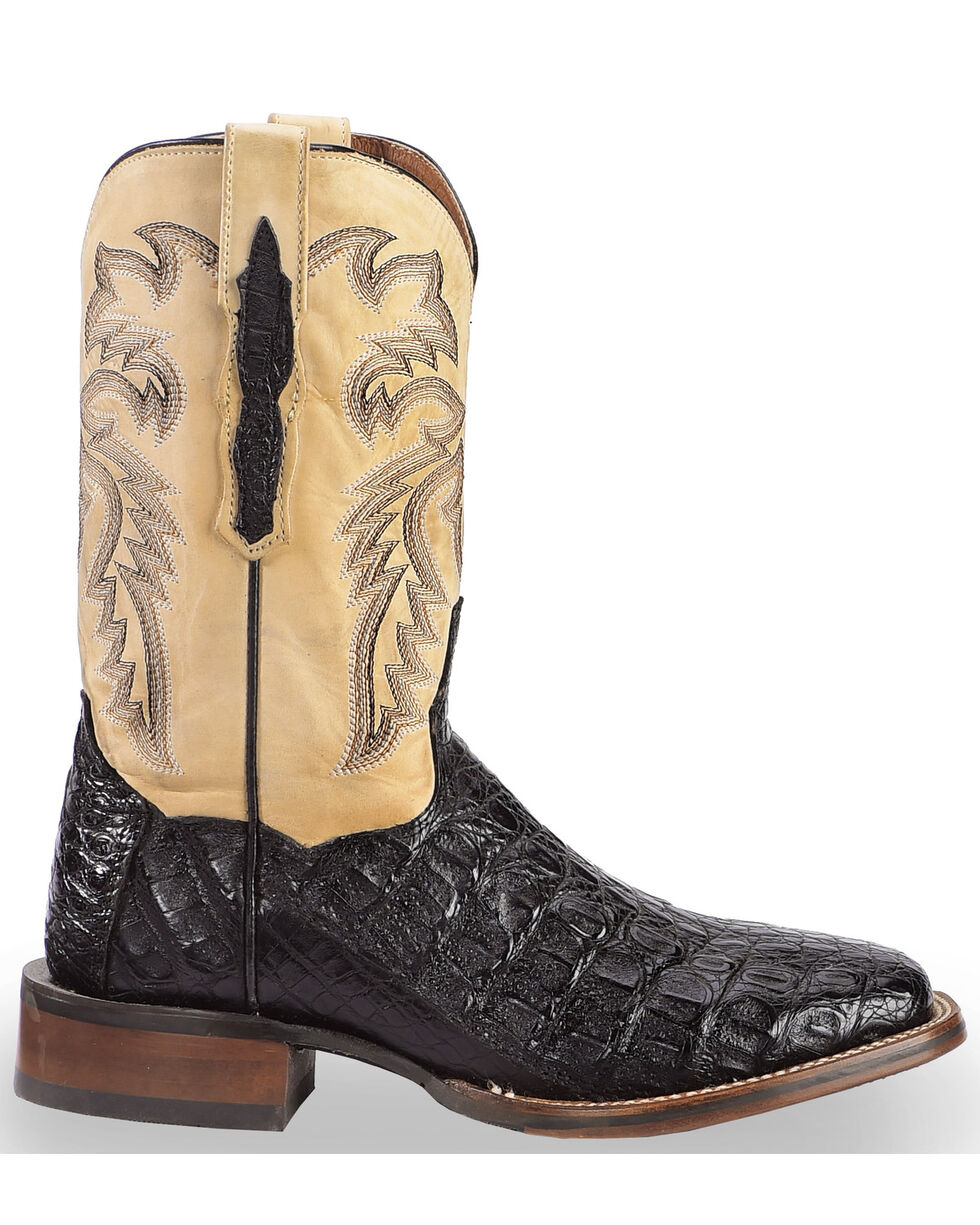 Dan Post Denver Caiman Cowboy Boots - Wide Square Toe, Black, hi-res