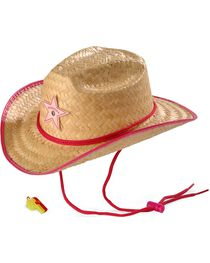 Children's Rodeo Party Sheriff Straw Cowboy Hat & Whistle, , hi-res