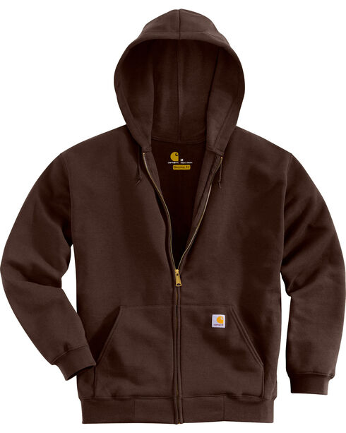 Carhartt Zip Front Work Hoodie, Dark Brown, hi-res