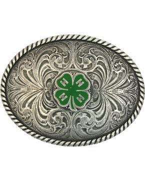 Montana Silversmiths 4-H Emblem Classic Antiqued Attitude Belt Buckle, Silver, hi-res