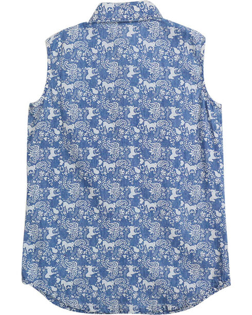 Shyanne® Girls' Horse Printed Sleeveless Shirt, Blue, hi-res