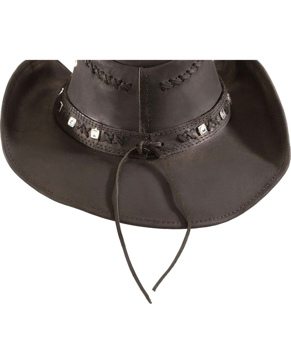 Bullhide Men's Thunder Struck Leather Hat, Black, hi-res