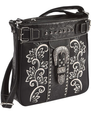 Savana Women's Black Embroidered Messenger Bag , Black, hi-res