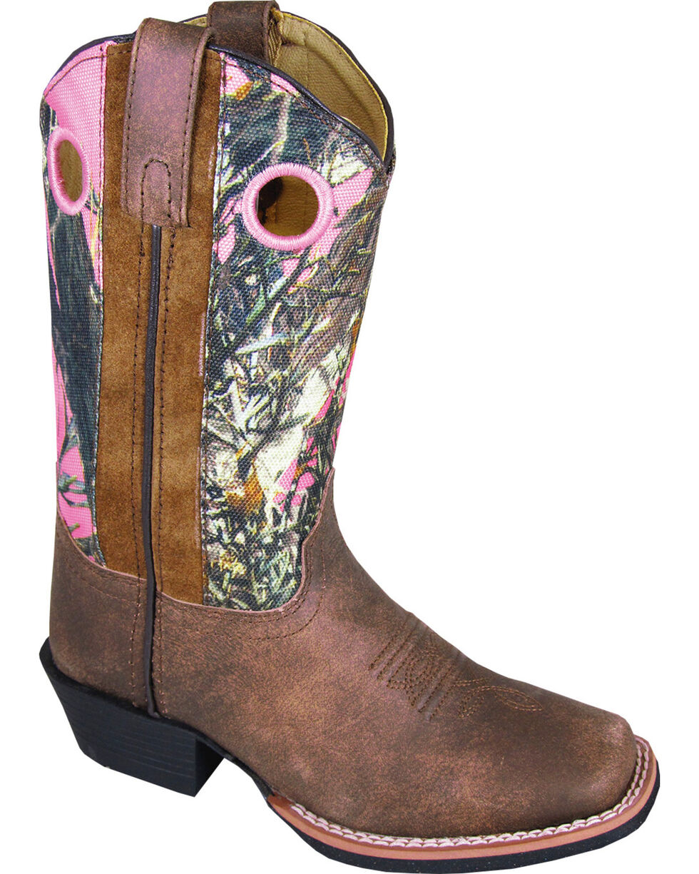 Smoky Mountain Youth Girls' Mesa Camo Western Boots - Square Toe, Brown, hi-res