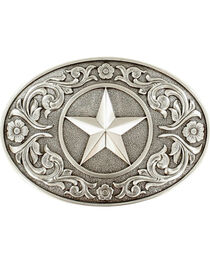 Nocona Silver Texas Star Belt Buckle , , hi-res