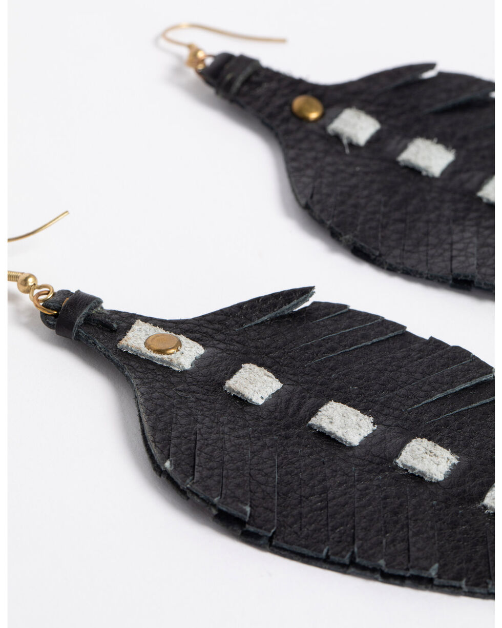 Jewelry Junkie Women's Leather Feather Earrings , Black, hi-res