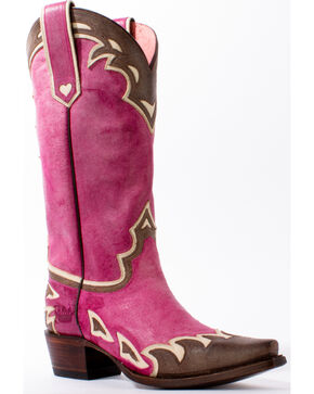 Lane Women's Back 40 Western Boots, Pink, hi-res