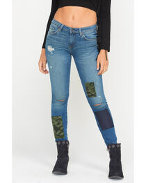 MM Vintage Women's Camo Patch Jeans - Skinny , , hi-res