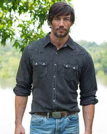 Ryan Michael Men's Night Black Embroidered Silk Linen Shirt, , hi-res