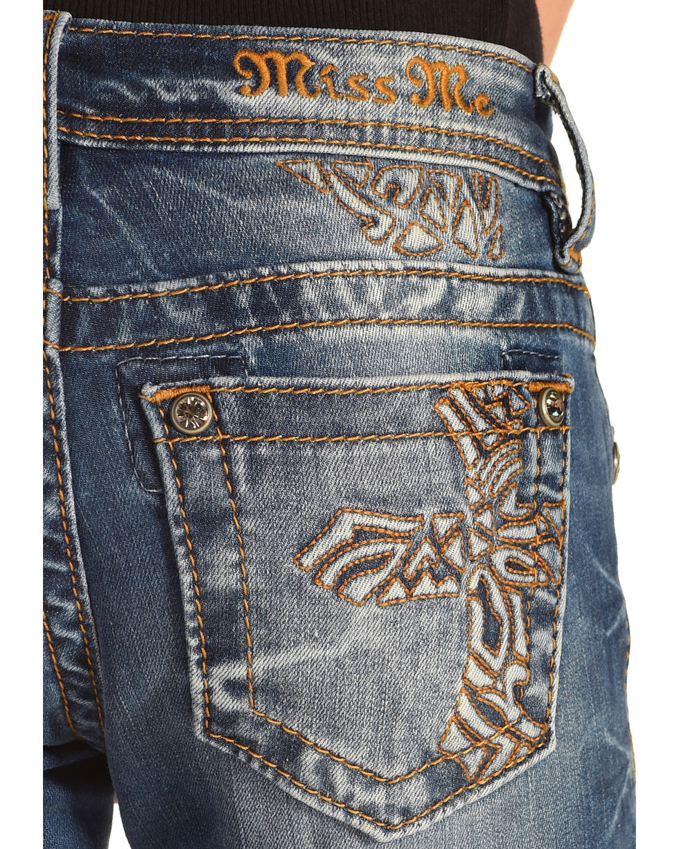Miss Me Girls' Don't Cross Me Boot Cut Jeans, Indigo, hi-res