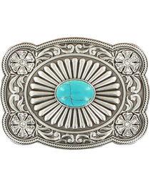 Blazin Roxx Silver Plated Turquoise Belt Buckle, , hi-res
