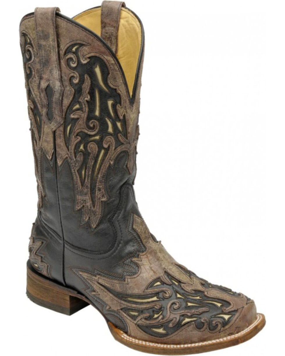 Corral Men's Inlay Square Toe Western Boots, Black, hi-res