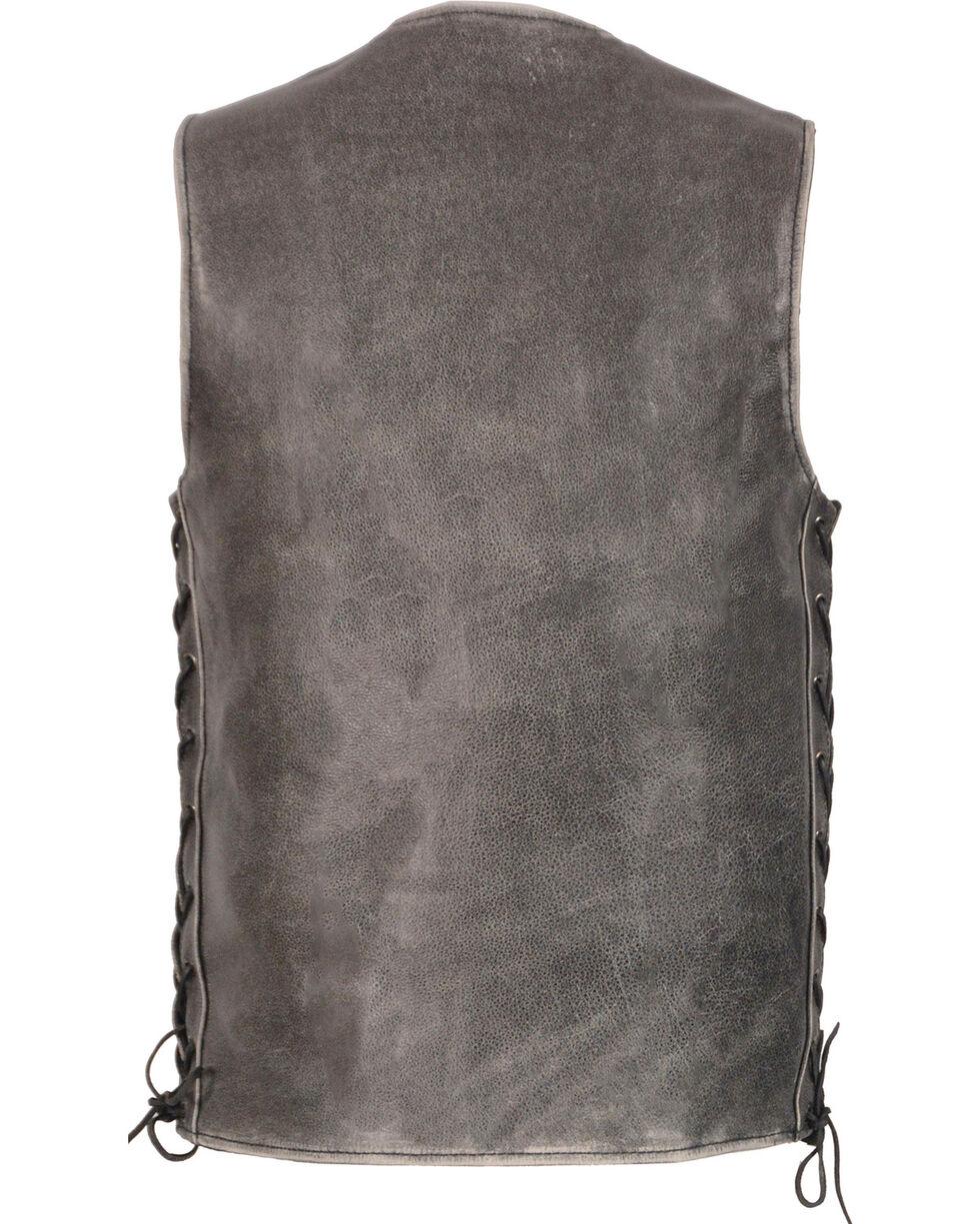Milwaukee Leather Men's Grey Side Lace Vest - Big 3X , Grey, hi-res