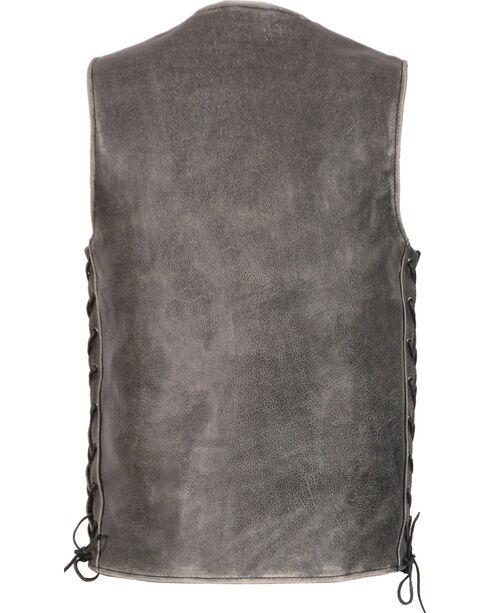 Milwaukee Leather Men's Grey Side Lace Vest - Big 5X , Grey, hi-res