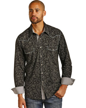 Rock & Roll Cowboy Men's Floral Print Long Sleeve Snap Shirt, Black, hi-res