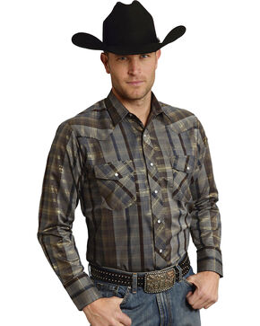 Roper Men's Brown Snap Gold Stripe Lurex Western Shirt, Brown, hi-res