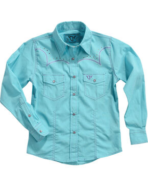Cowgirl Hardware Girls' Turquoise Embroidered Horse Long Sleeve Shirt, Turquoise, hi-res