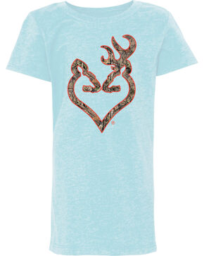 Browning Girls' Light Blue Mossy Oak Country Buckheart Tee , Light Blue, hi-res