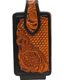 Nocona Tooled Leather Cell Phone Holder , , hi-res