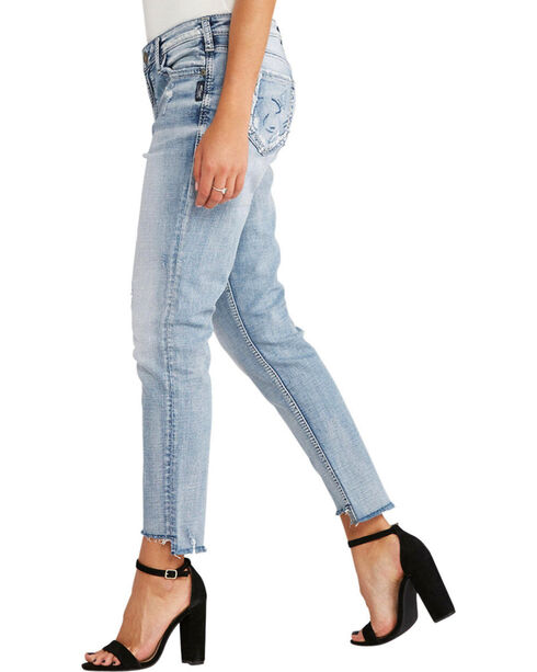 Silver Women's Light Indigo Loose Boyfriend Jeans - Plus Size, Indigo, hi-res