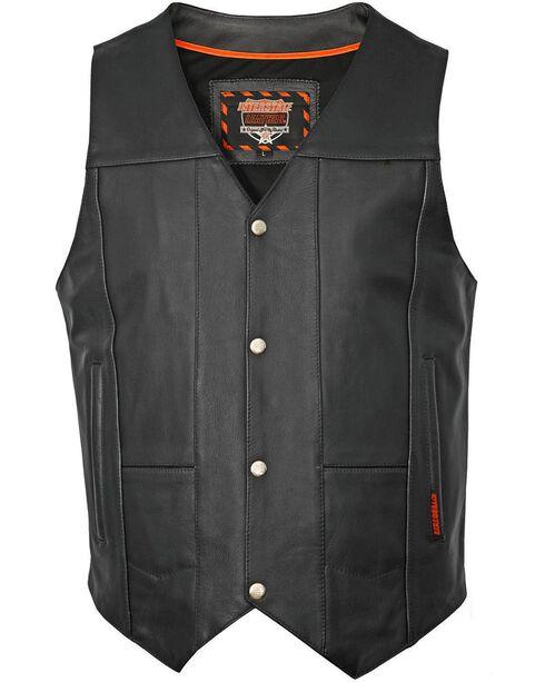 Interstate Leather Multiple Pocket Vest, Black, hi-res