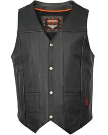 Interstate Leather Men's Shooter Motorcycle Vest, , hi-res