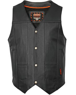 Interstate Leather Men's Shooter Motorcycle Vest, Black, hi-res