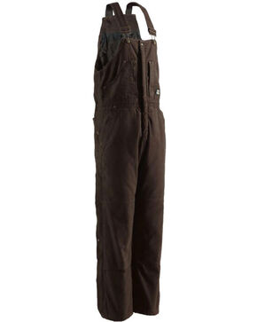 Berne Men's Dark Brown Lined Insulated Bib Overall , Bark, hi-res