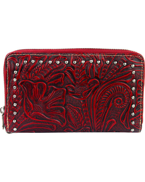 Montana West Trinity Ranch Red Tooled Design Wallet, Red, hi-res