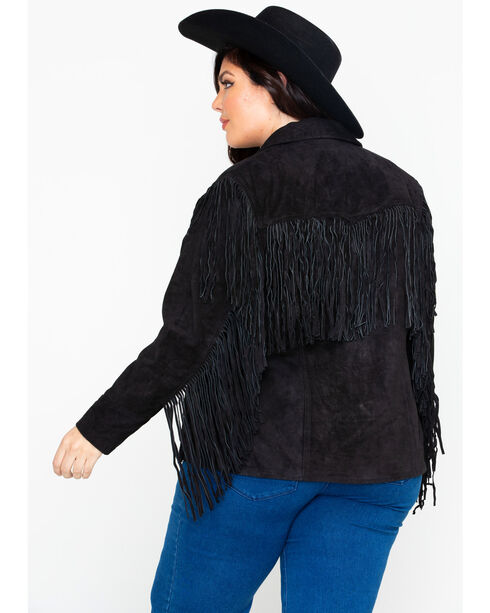 Liberty Wear Women's Fringe Leather Jacket , Black, hi-res