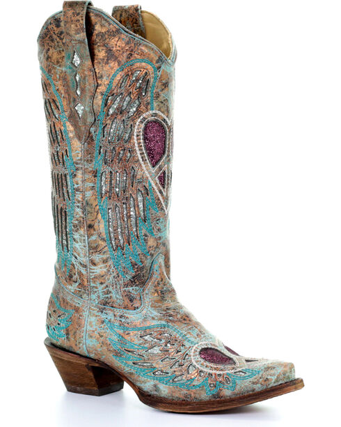 Corral Women's Turquoise Angel Wing Peace Heart Cowgirl Boots - Snip Toe , Turquoise, hi-res