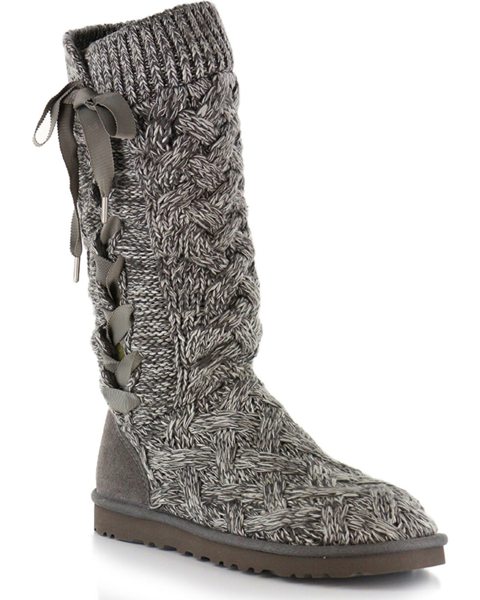 UGG® Women's Mahalya Knit Casual Boots, Heather Grey, hi-res