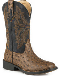 Roper Youth Boys' Brown Ostrich Print Cowboy Boots - Square Toe, , hi-res