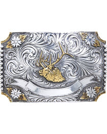 AndWest Men's Floral Elk Two-Tone Belt Buckle, , hi-res