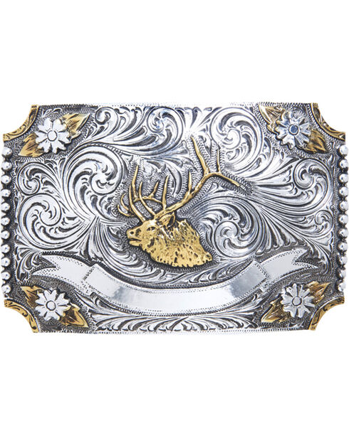 AndWest Men's Floral Elk Two-Tone Belt Buckle, Two Tone, hi-res