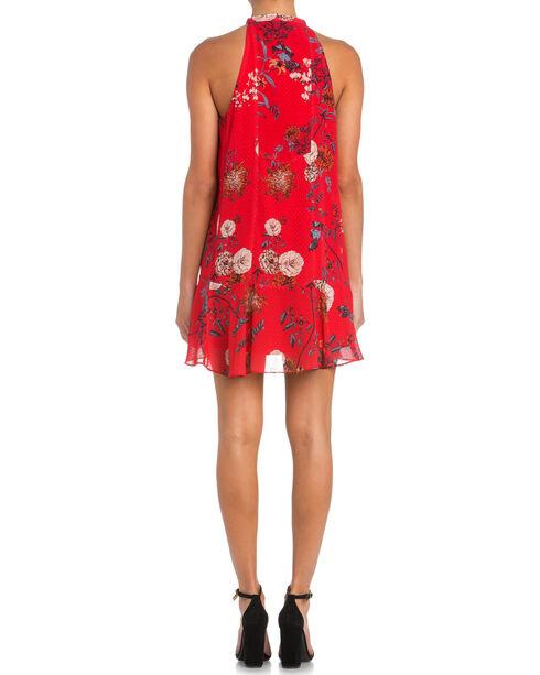 Miss Me Floral Print Dress with Tie Detail, Red, hi-res