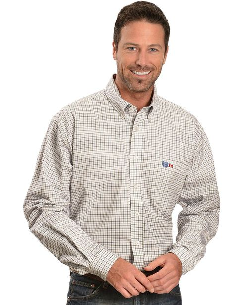 Cinch WRX Men's Flame Resistant Long Sleeve Checkered Twill Work Shirt, White, hi-res