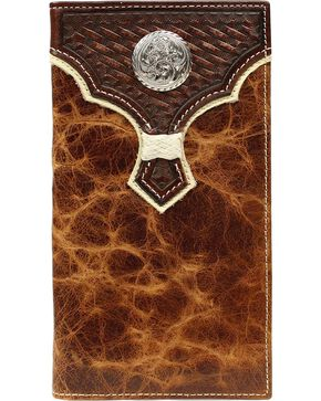 Nocona Basketweave w/ Concho Overlay Rodeo Wallet, Brown, hi-res